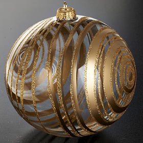 Ornement sapin en verre spirales or 15 cm s2