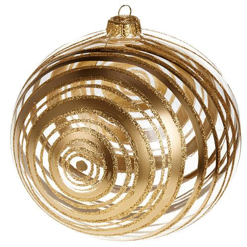 Ornement sapin en verre spirales or 15 cm 1