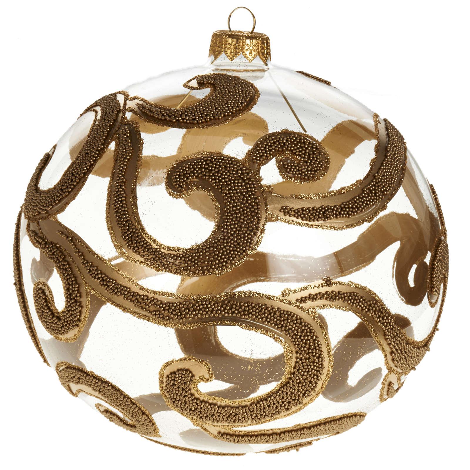 Decoro Albero Natale, palla vetro oro trasparente 15 cm 4