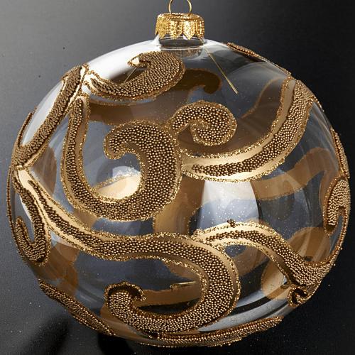 Decoro Albero Natale, palla vetro oro trasparente 15 cm 2