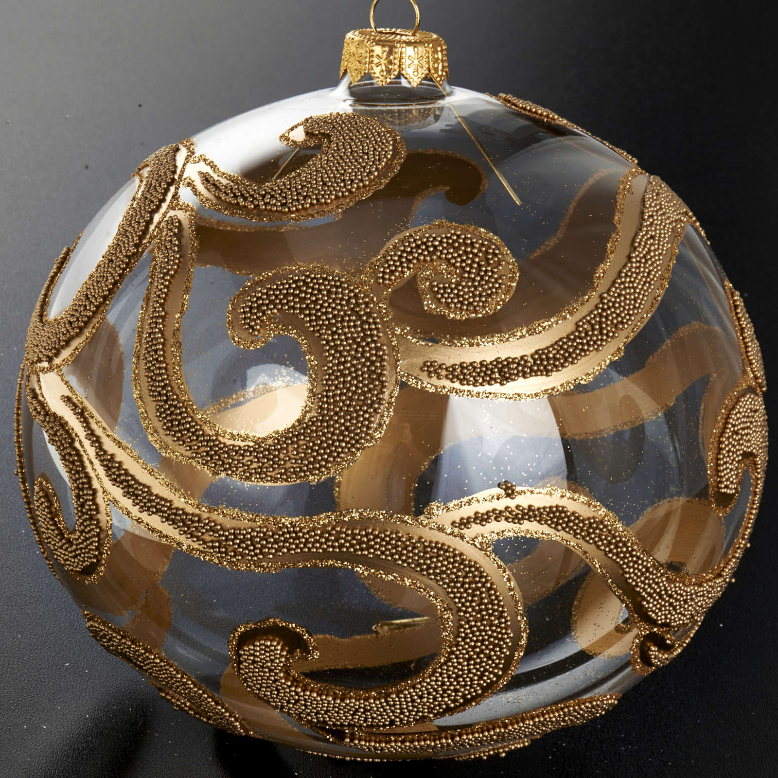 Christmas tree bauble in blown glass, gold and transparent 15cm 4