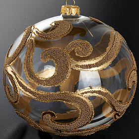 Christmas tree bauble in blown glass, gold and transparent 15cm s2
