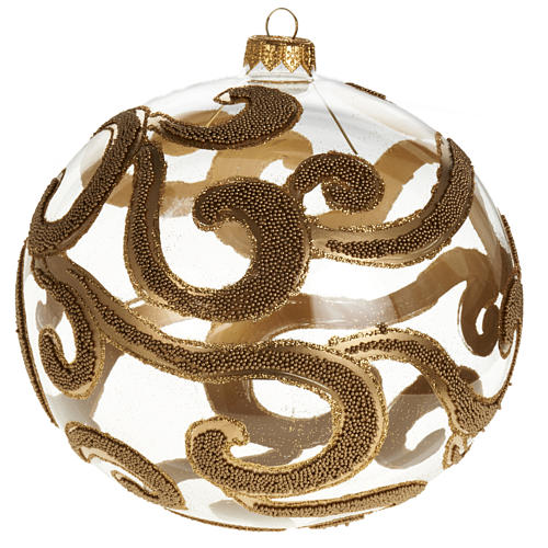 Christmas tree bauble in blown glass, gold and transparent 15cm 1