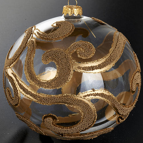 Christmas tree bauble in blown glass, gold and transparent 15cm 2