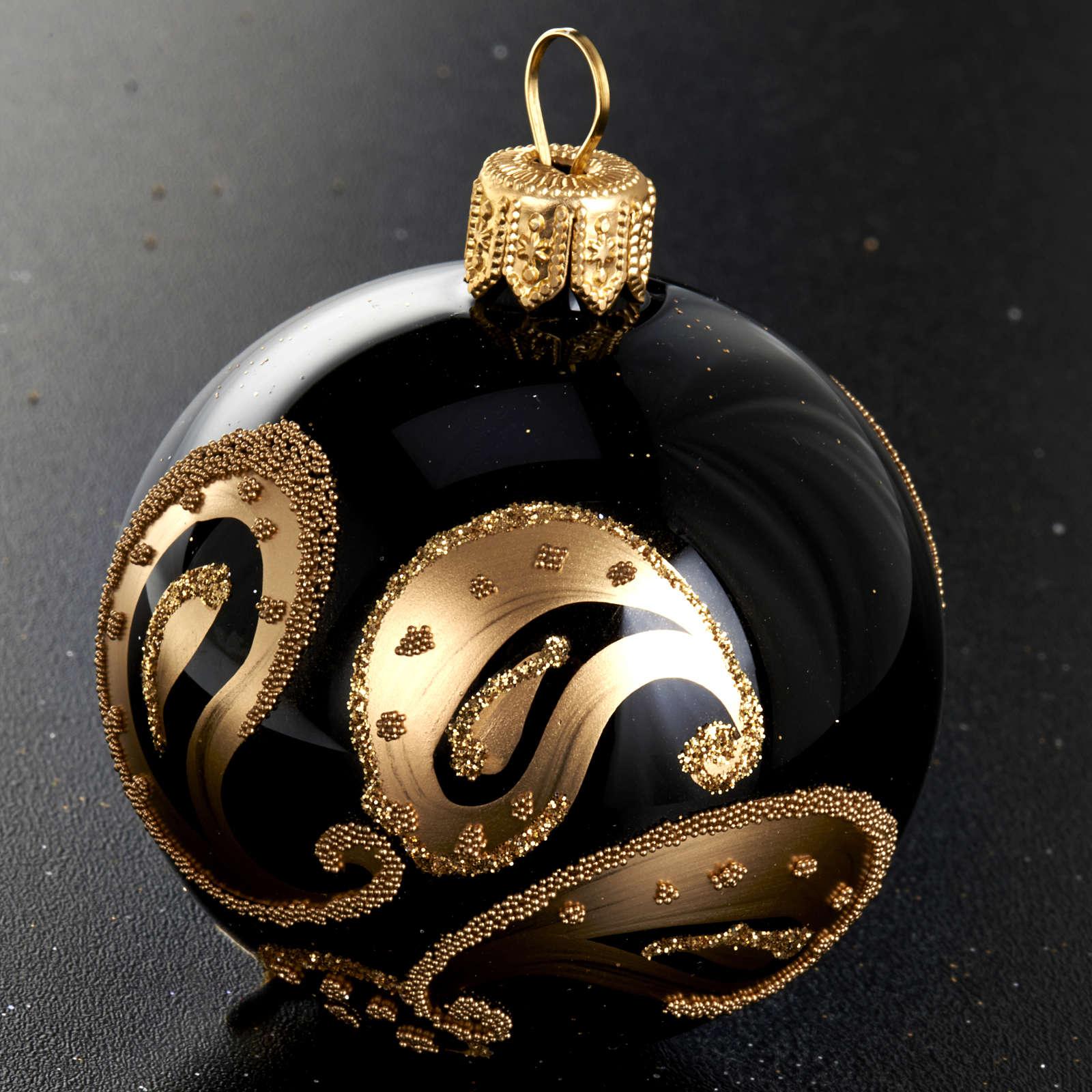 Decoro Albero Natale, palla vetro nero decoro oro 6 cm 4