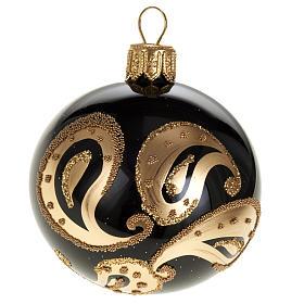 Decoro Albero Natale, palla vetro nero decoro oro 6 cm s1
