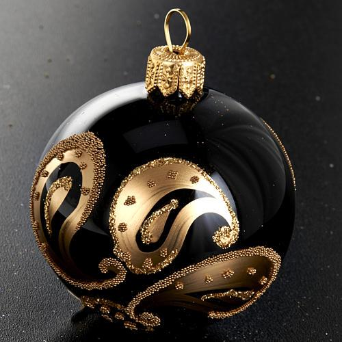 Decoro Albero Natale, palla vetro nero decoro oro 6 cm 2