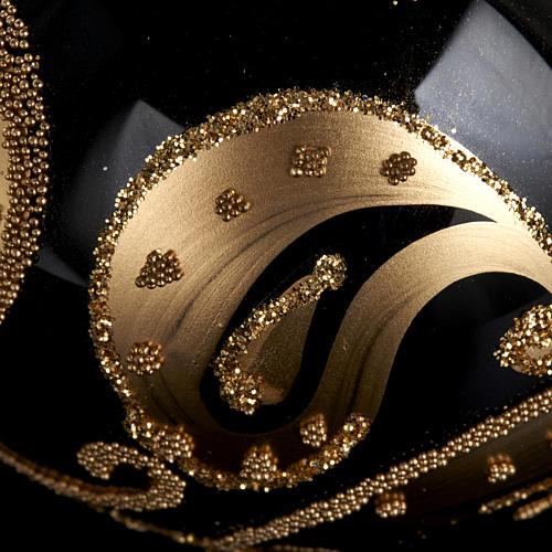 Decoro Albero Natale, palla vetro nero decoro oro 6 cm 3