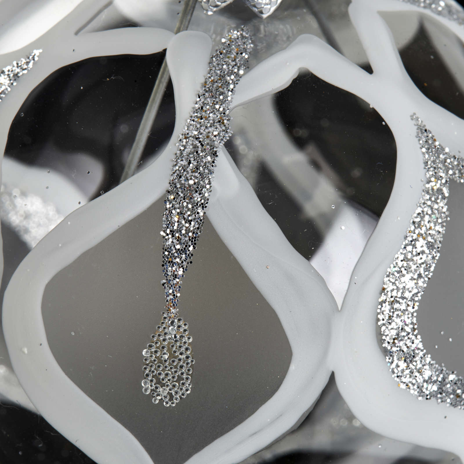 Albero Natale, pallina trasparente argento glitter 6 cm 4
