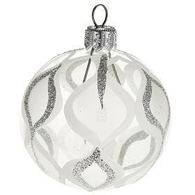 Albero Natale, pallina trasparente argento glitter 6 cm s1