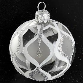 Albero Natale, pallina trasparente argento glitter 6 cm s2