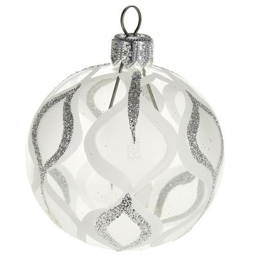 Albero Natale, pallina trasparente argento glitter 6 cm 1