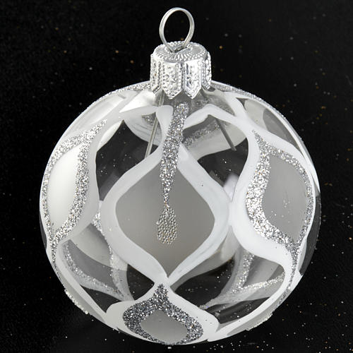 Albero Natale, pallina trasparente argento glitter 6 cm 2