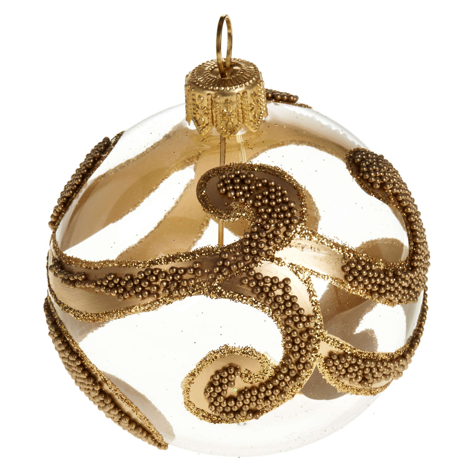 Albero Natale palla vetro dorata glitter 6 cm 4