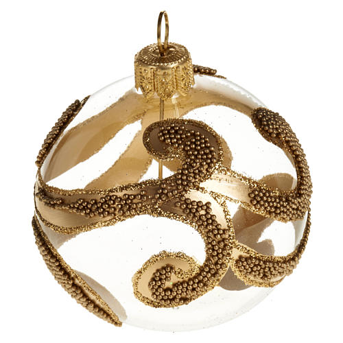Albero Natale palla vetro dorata glitter 6 cm 1