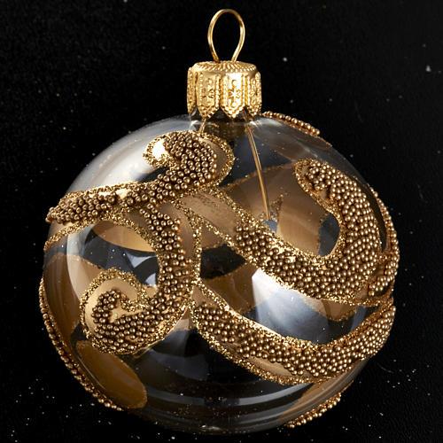 Albero Natale palla vetro dorata glitter 6 cm 2