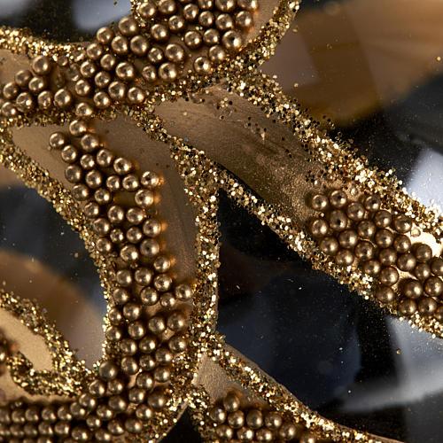 Albero Natale palla vetro dorata glitter 6 cm 3