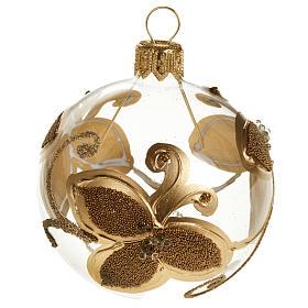 Decoro Albero Natale, palla vetro fiori oro 6 cm s1