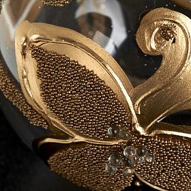 Decoro Albero Natale, palla vetro fiori oro 6 cm s3