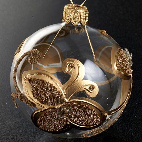 Decoro Albero Natale, palla vetro fiori oro 6 cm 2