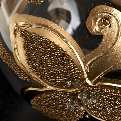 Decoro Albero Natale, palla vetro fiori oro 6 cm 3