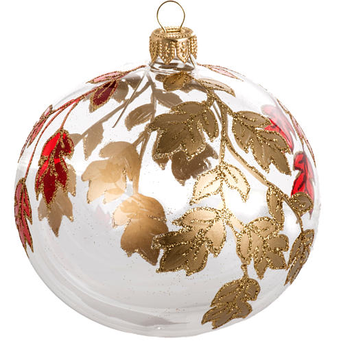 Adorno árbol, decorado en rojo dorado escarcha 10cm 1