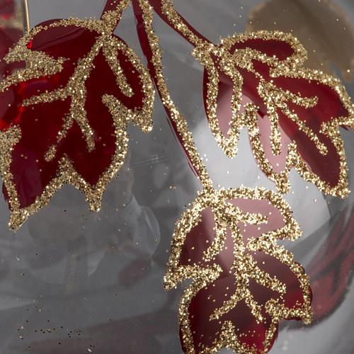 Adorno árbol, decorado en rojo dorado escarcha 10cm 3