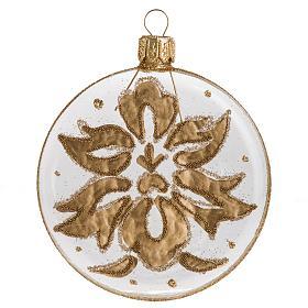 Palla Natale per albero vetro medaglia trasparente oro 8 cm s1