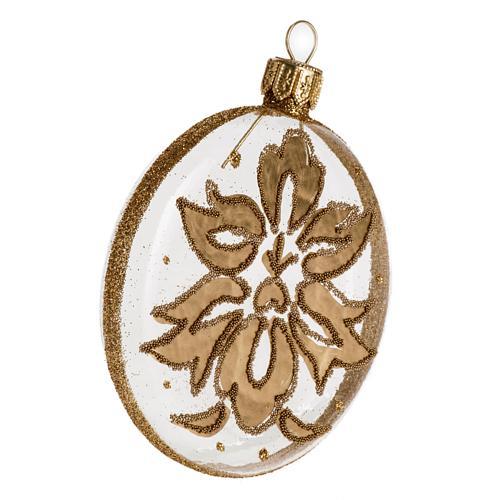 Palla Natale per albero vetro medaglia trasparente oro 8 cm 2
