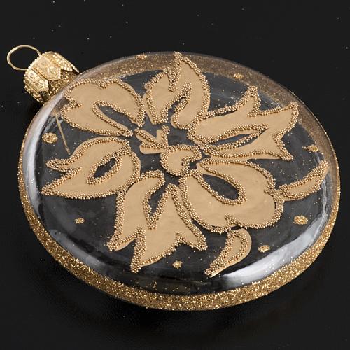 Palla Natale per albero vetro medaglia trasparente oro 8 cm 3