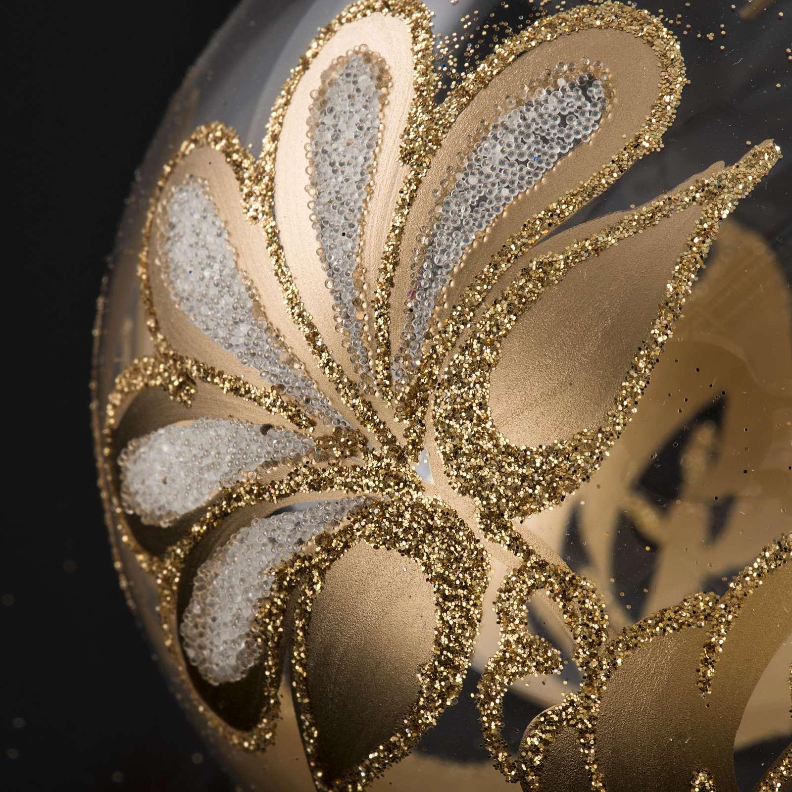 Palla Natale per albero vetro trasparente oro 8 cm 4