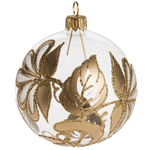 Palla Natale per albero vetro trasparente oro 8 cm 1