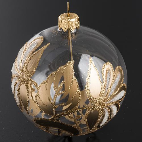 Palla Natale per albero vetro trasparente oro 8 cm 2