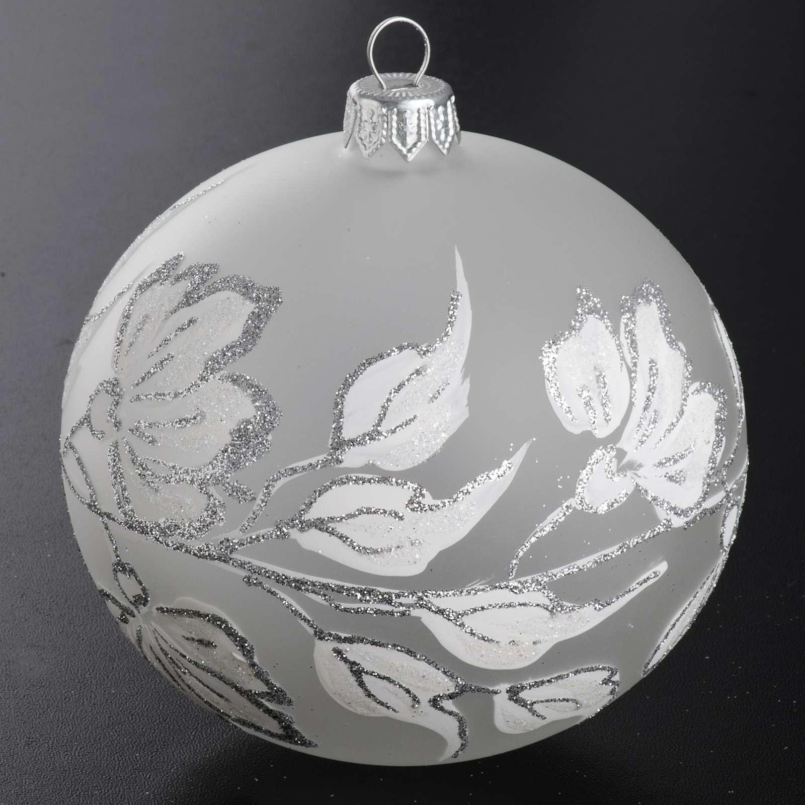 Palla Natale per albero vetro argento bianco 10 cm 4