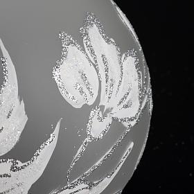 Palla Natale per albero vetro argento bianco 10 cm s3