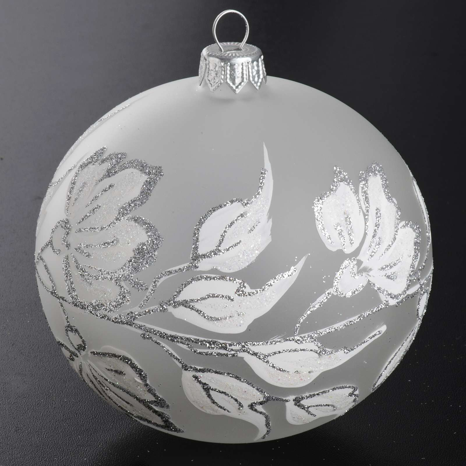 Bauble For Christmas Tree, Silver And White Blown Glass, 10Cm