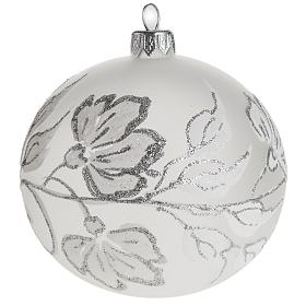 Bauble for Christmas tree, silver and white blown glass, 10cm s1