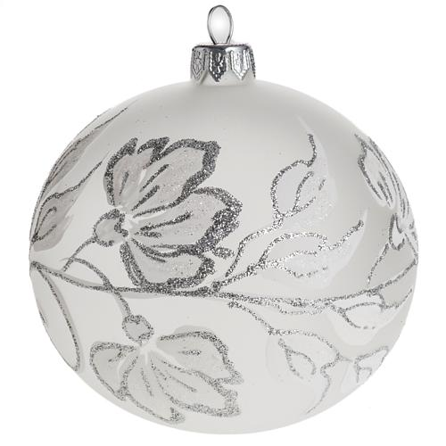 Bauble for Christmas tree, silver and white blown glass, 10cm 1