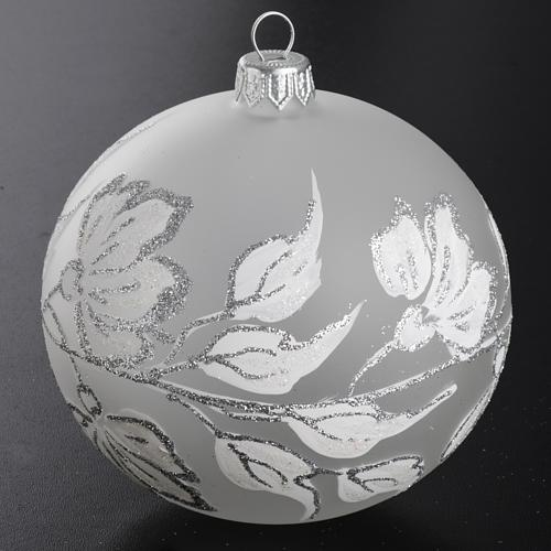 Bauble for Christmas tree, silver and white blown glass, 10cm 2
