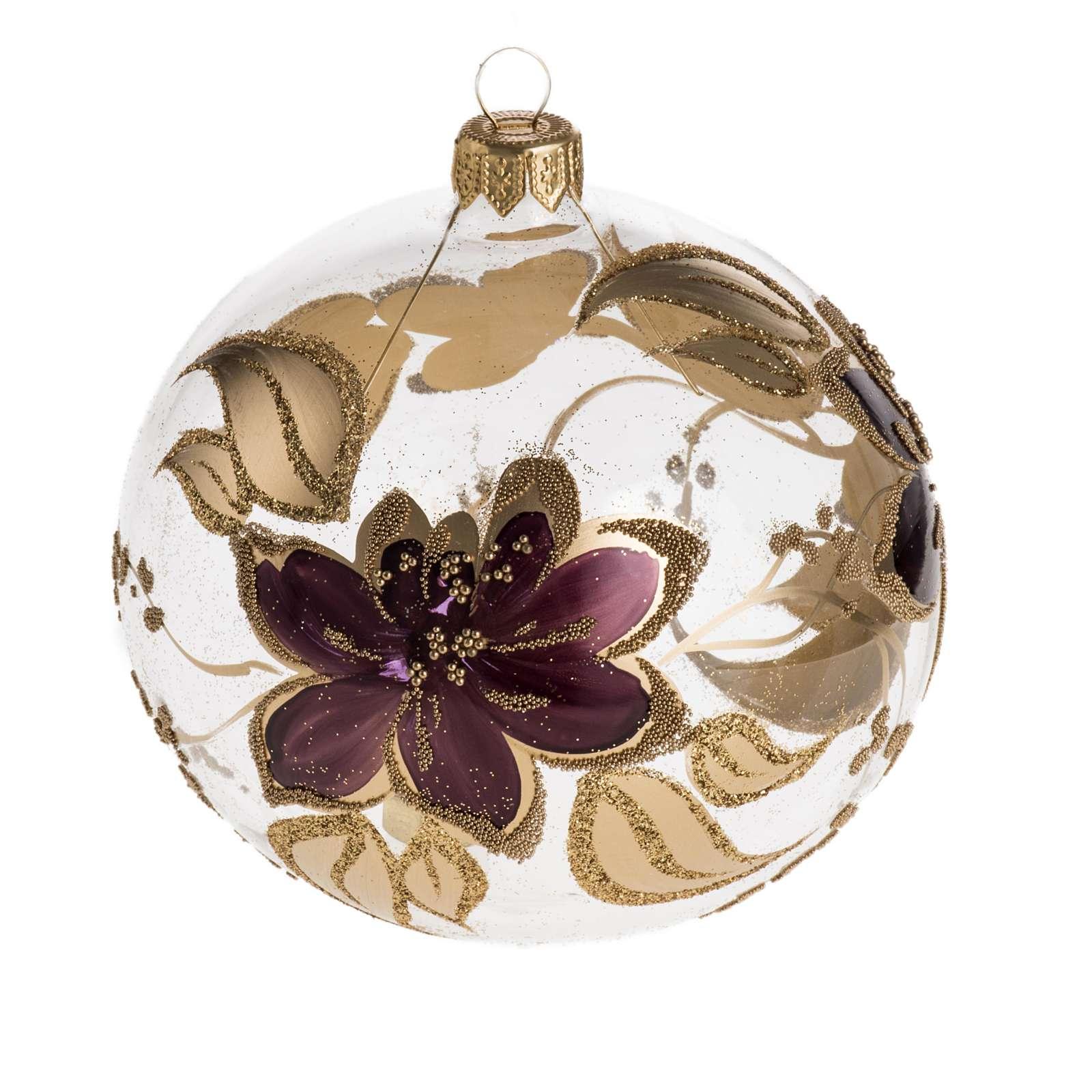 Palla Natale per albero vetro oro fucsia 10 cm 4