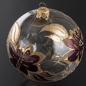 Palla Natale per albero vetro oro fucsia 10 cm s2