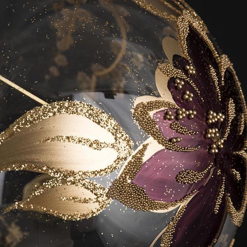 Palla Natale per albero vetro oro fucsia 10 cm 3