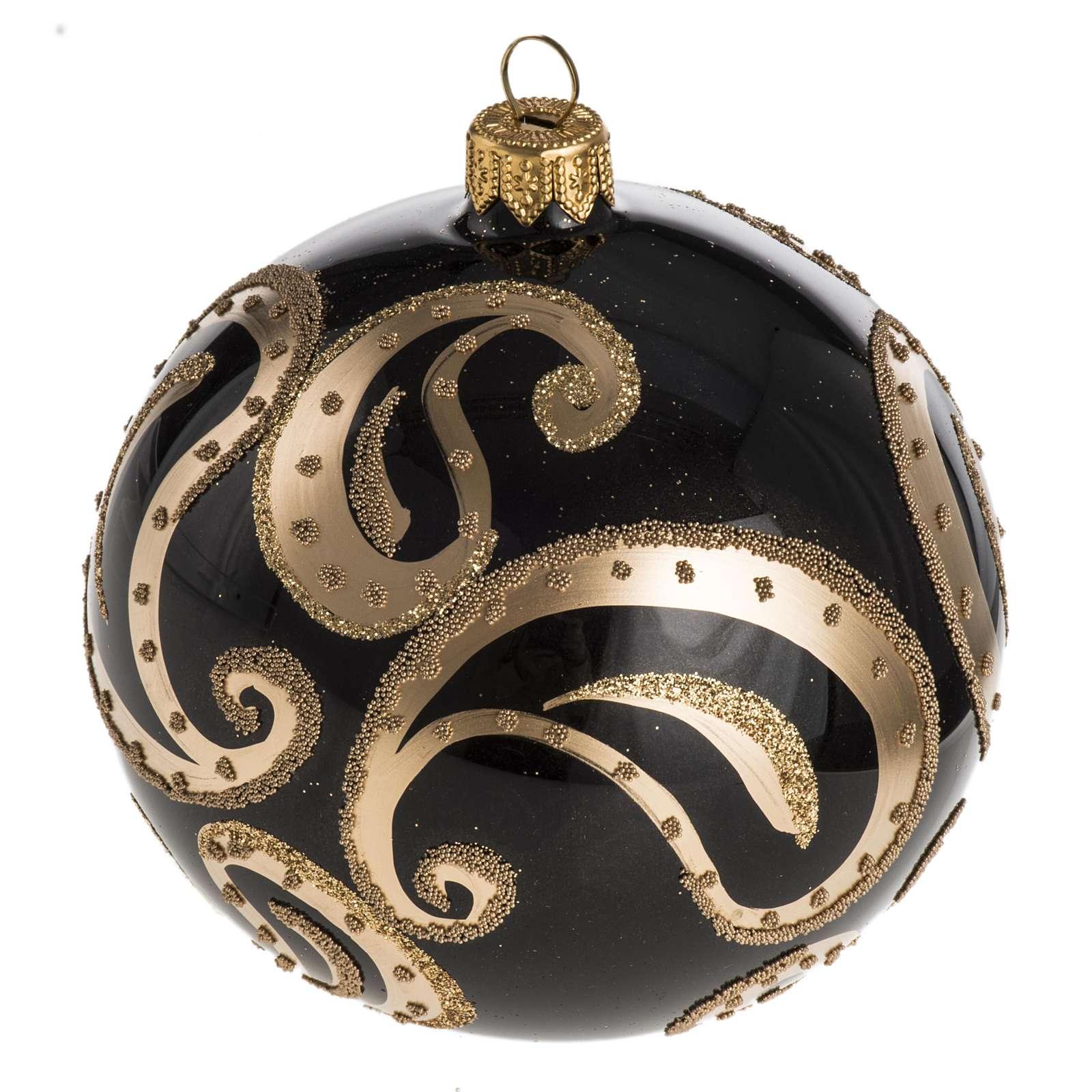 Boule de Noel noire or 10 cm 4
