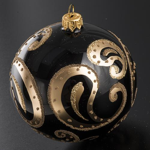 Boule de Noel noire or 10 cm 2