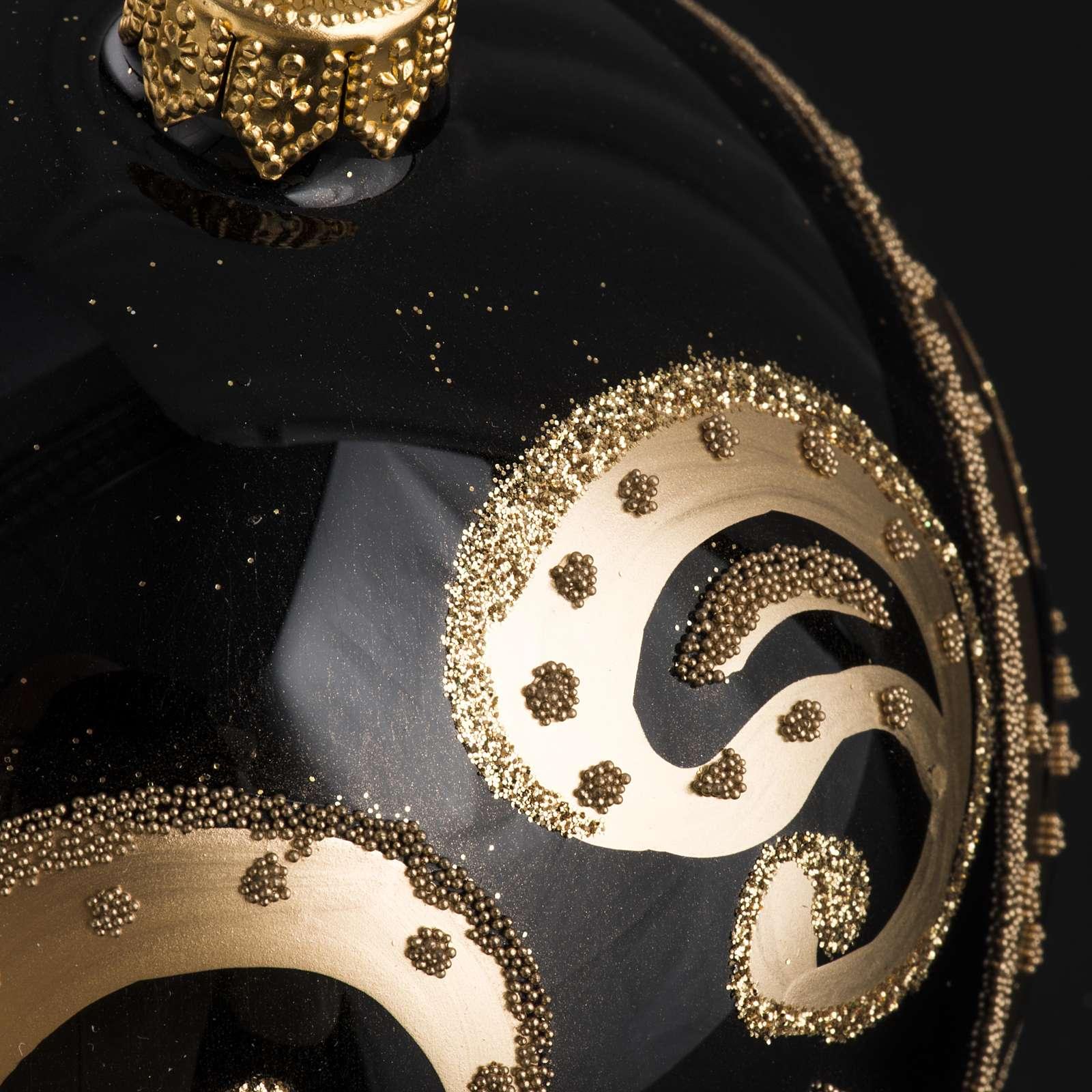 Palla Natale per albero vetro nero oro 10 cm 4