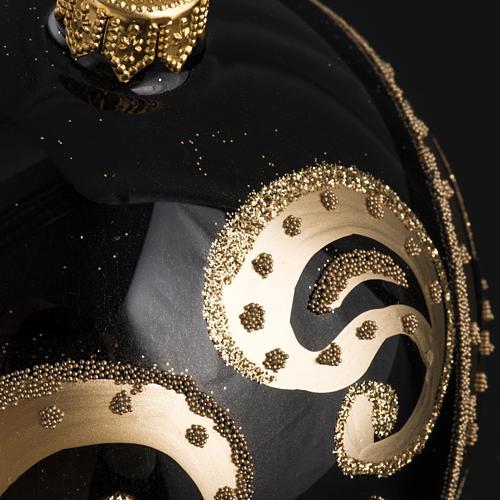 Palla Natale per albero vetro nero oro 10 cm 3