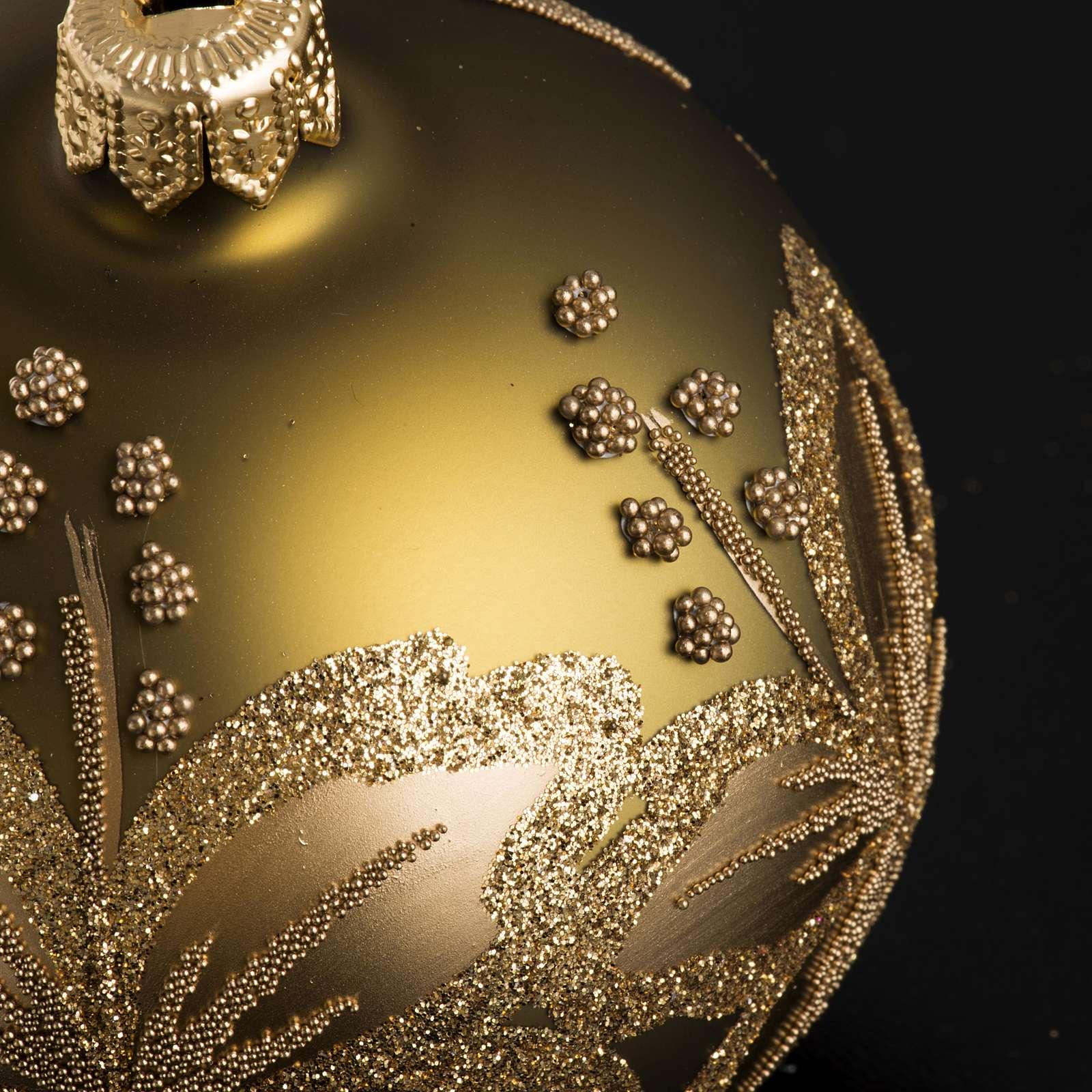 Palla Natale per albero vetro dorato fiore 8 cm 4
