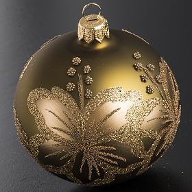 Palla Natale per albero vetro dorato fiore 8 cm s2