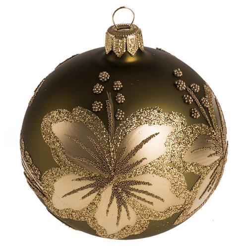 Palla Natale per albero vetro dorato fiore 8 cm 1
