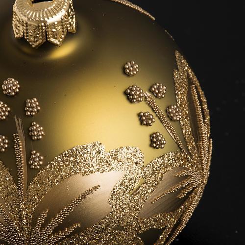 Palla Natale per albero vetro dorato fiore 8 cm 3